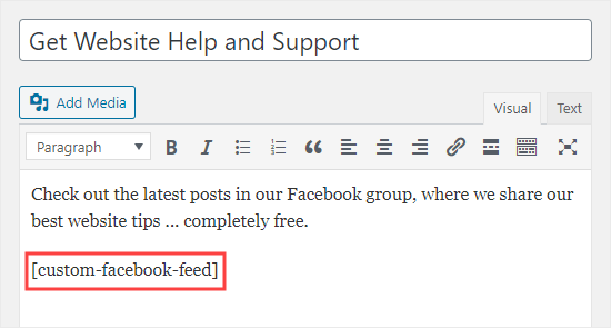 Adding your group's posts to a page using the classic editor in WordPress