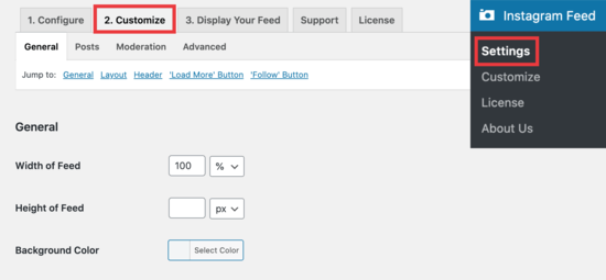 Instagram customize tab
