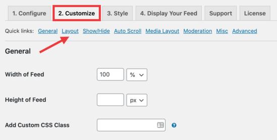 Customize layout