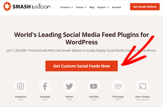 Smash Balloon - Get Custom Social Feeds Now button