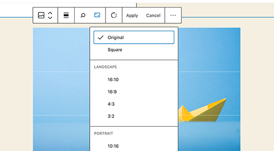 Inline image editing in WordPress 5.5