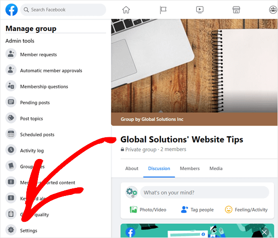 Click on the Settings tab for your Facebook group