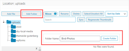 Adding a new folder using the Media Library Folders plugin