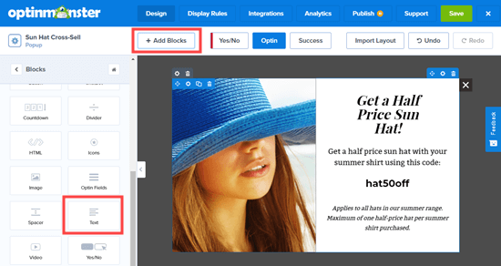 Adding text blocks to your cross-sell popup
