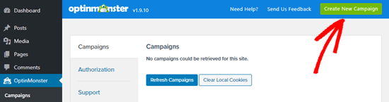 Click the button to create a new campaign in OptinMonster