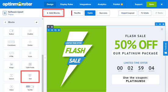 Adding blocks to your upsell popup