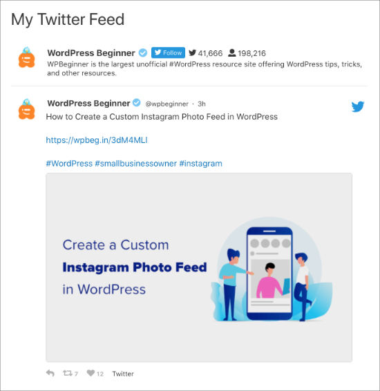 Twitter feed on page