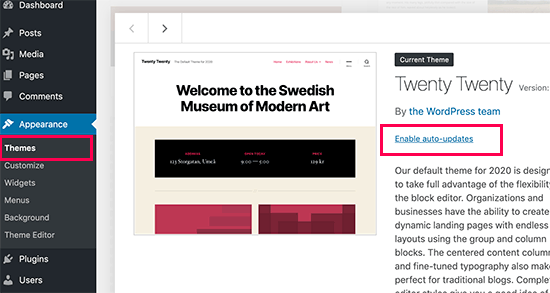 Tema de atualização automática do WordPress
