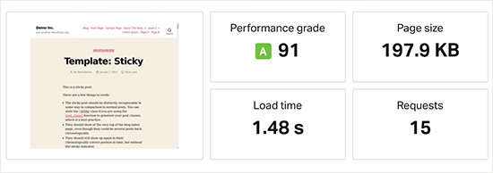 Bluehost speed test results