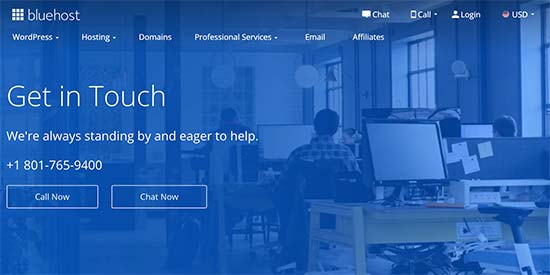 Bluehost live chat and phone support