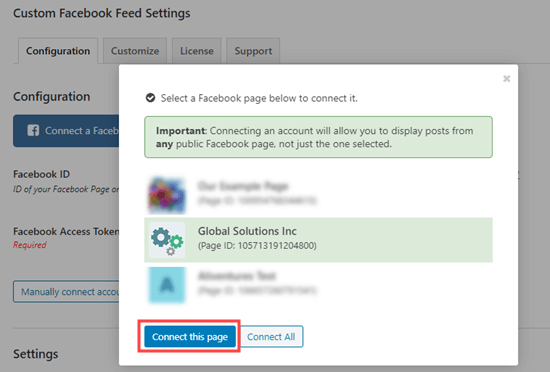 Select the Facebook page that you want to connect to your website