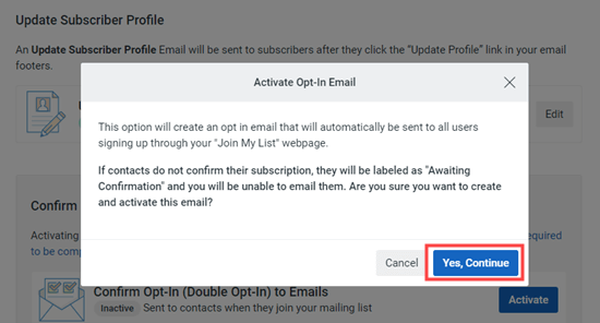 Confirm that you want to go ahead and use double optin for your email list