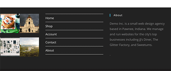 A footer section with navigation menu links
