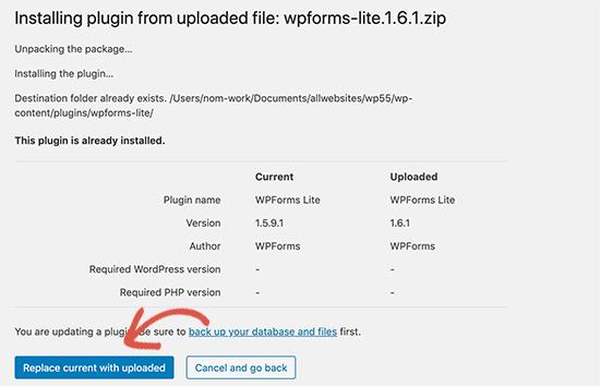 Substitua o plugin existente por uma nova versão