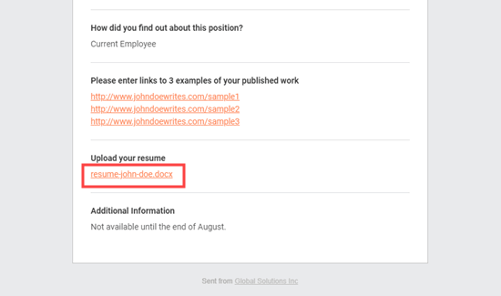 The job application email notification with resume link in place