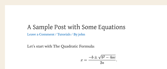 A math equation displayed in WordPress using LaTeX