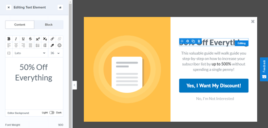 Editing the header text for the Yes/No view of your OptinMonster campaign