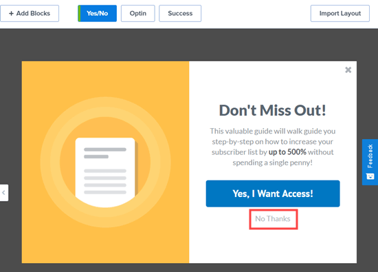 The Yes/No view will open up, with a yes button and a no thank you link