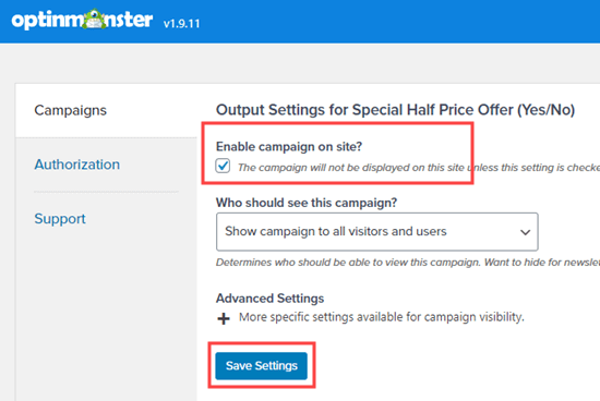 Checking that the Yes/No campaign is enabled on the website