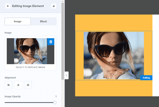 Editing the image in the Yes/No view of your OptinMonster campaign