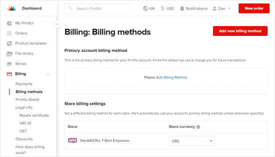Setting up a billing method in Printful