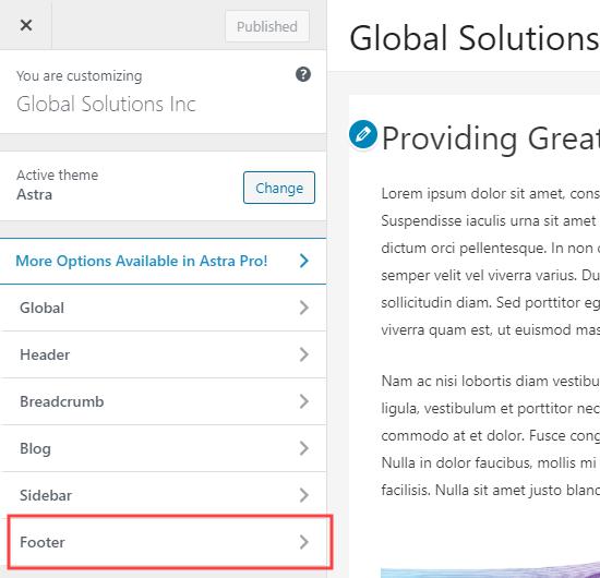 The Footer tab in the WordPress theme customizer