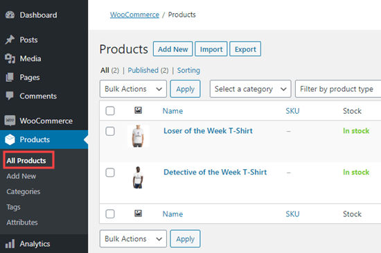 The list of print on demand products in WooCommerce, viewed in your WordPress dashboard