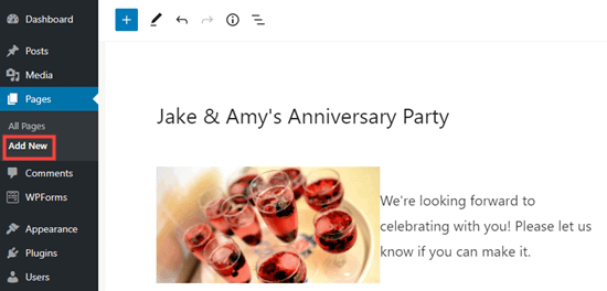 Adding a page for your RSVP form in WordPress