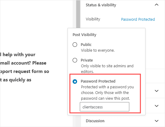 Password protecting the page with the form on in WordPress
