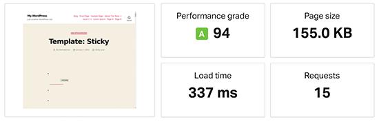 WP Engine speed test result