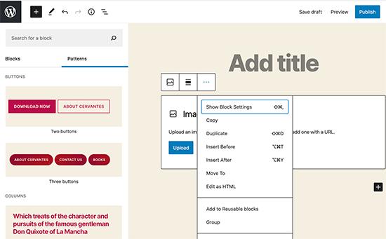Improved block editor UI
