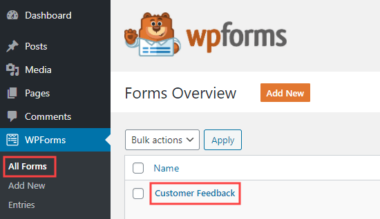 Editing your questionnaire form in WPForms