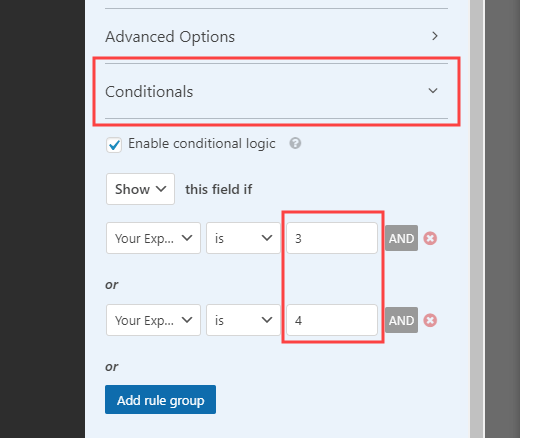 Opening up and editing the conditional logic for the field in WPForms