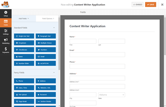 The default job application upload form template in WPForms