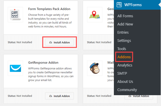 Adding the form templates pack addon to WPForms