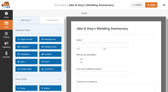 The party invite RSVP template in the WPForms form builder