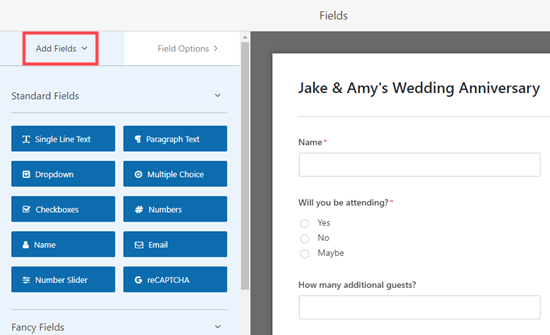 Adding new fields to the RSVP form