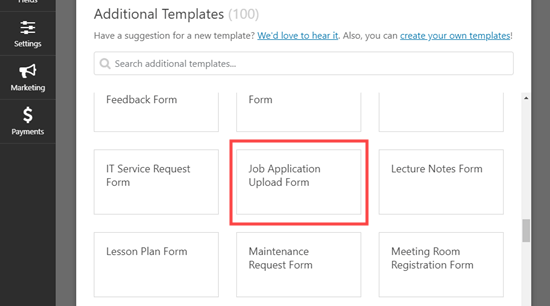 Select the Job Application Upload Form template