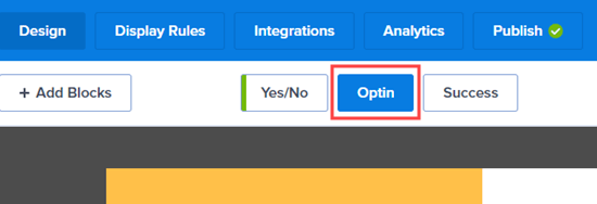 Click the Optin tab to edit the optin view of your campaign
