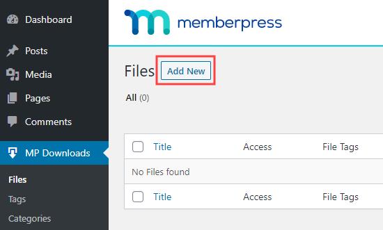 Adding a new downloadable file in MemberPress