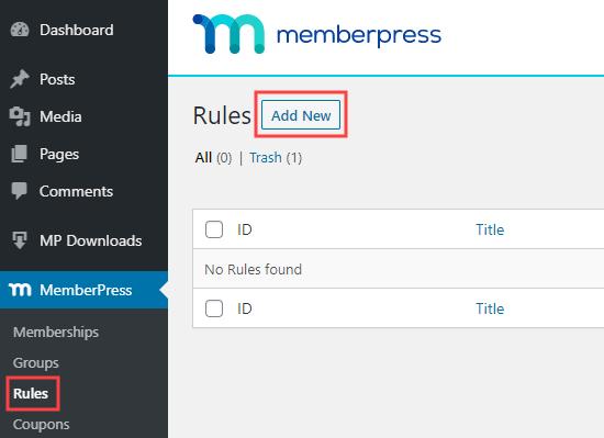 Adding a new rule in MemberPress