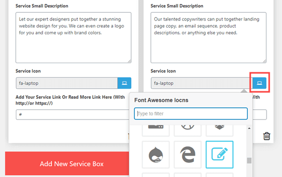 Choose an icon to use for each service that you want to list