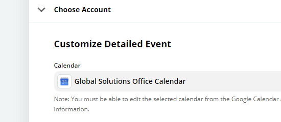Choose which calendar you want to use with the Zap
