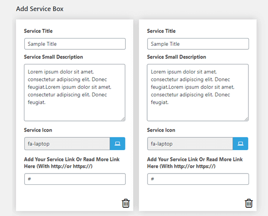 Two service boxes with default text have already been created for you