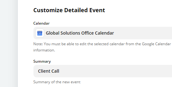 """Type in an summary for your Google Calendar event, e.g. """"Client Call"""""""