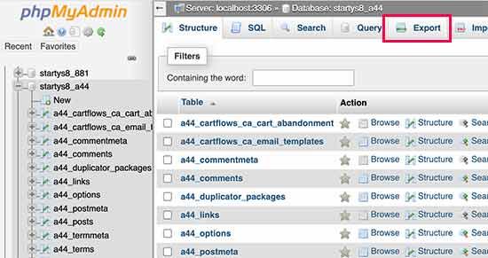 Export WordPress database manually