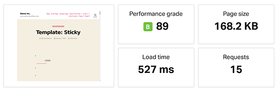GreenGeeks speed test results