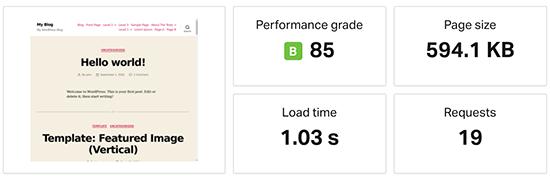 HostGator speed test result