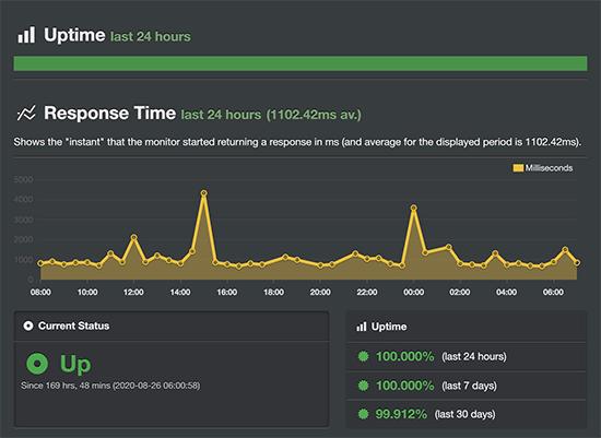 HostGator uptime result