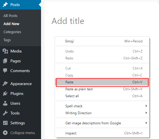 Pasting your copied text into WordPress